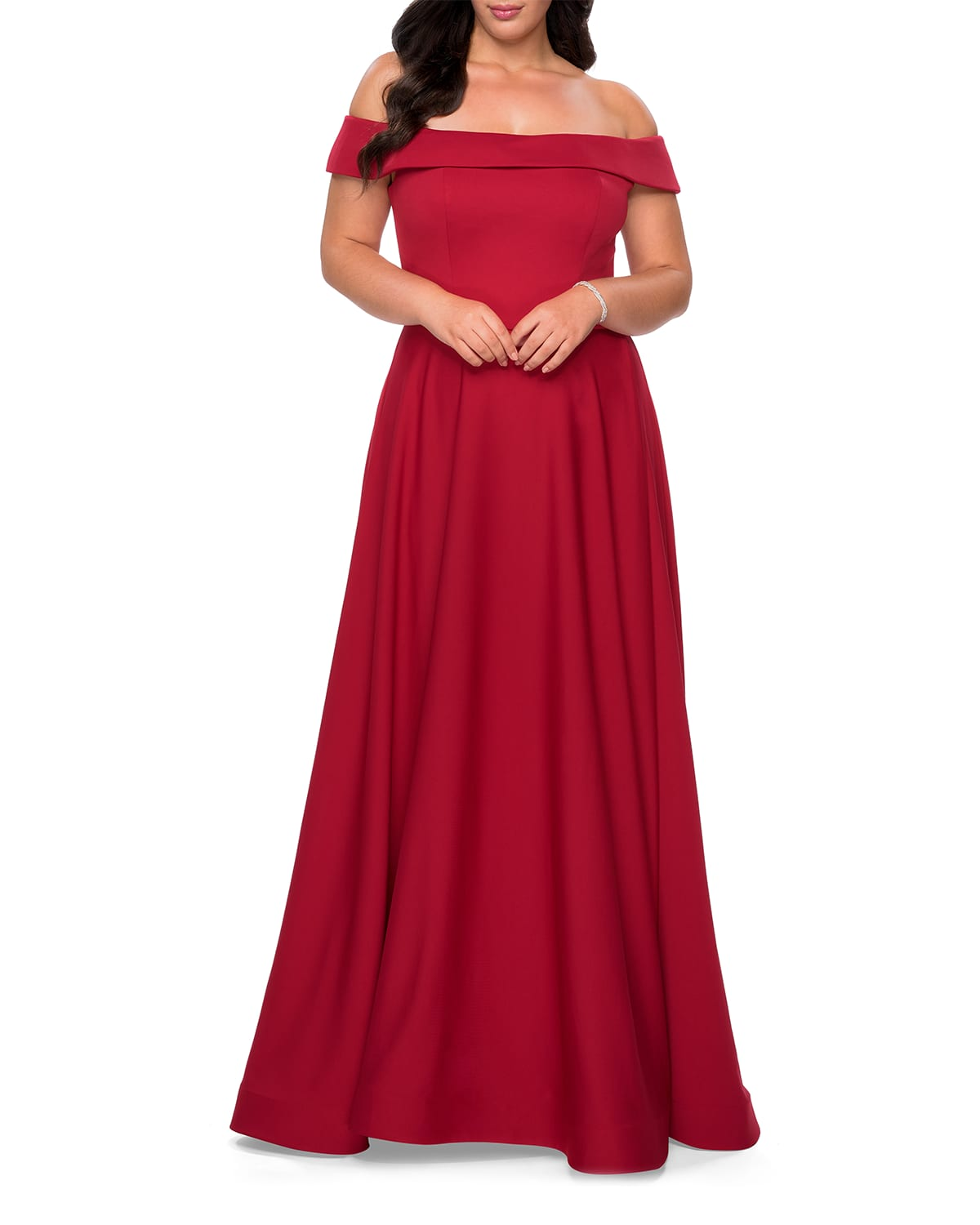 Plus Size Off-the-Shoulder Jersey A-Line Gown