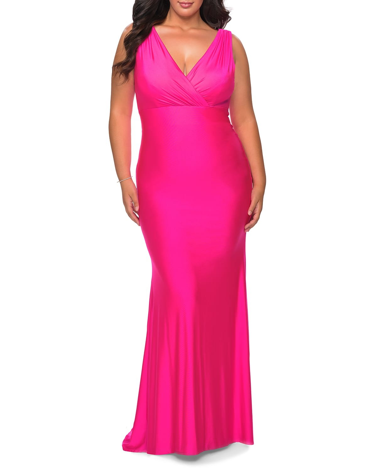 Plus Size V-Neck Sleeveless Jersey Gown
