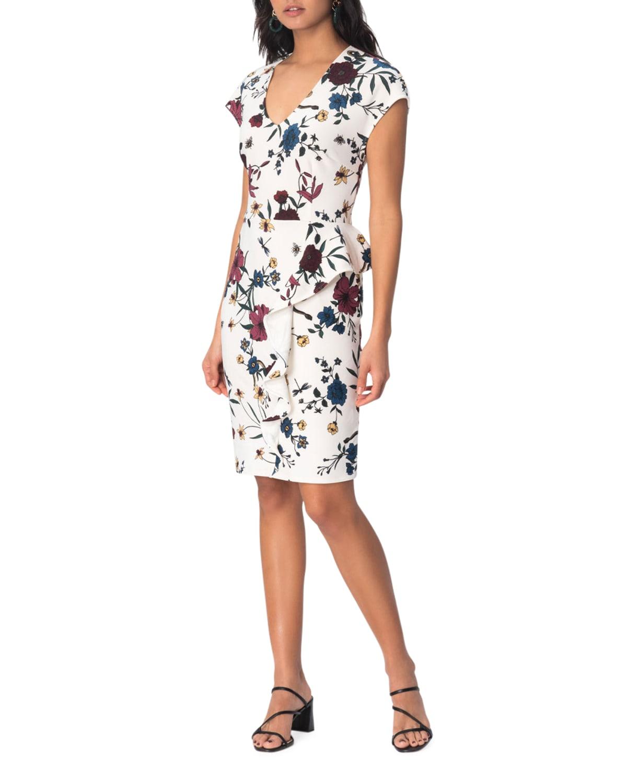 Samantha Floral Print Cap-Sleeve Dress
