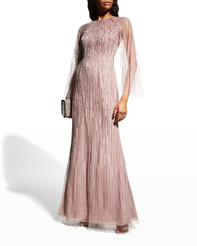 Sheer-Sleeve Beaded Column Gown