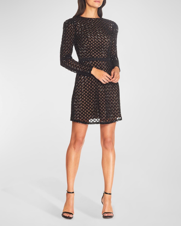 Collins Lattice Sequin Long-Sleeve Sheath Dress