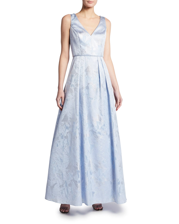 V-Neck Sleeveless Brocade Gown
