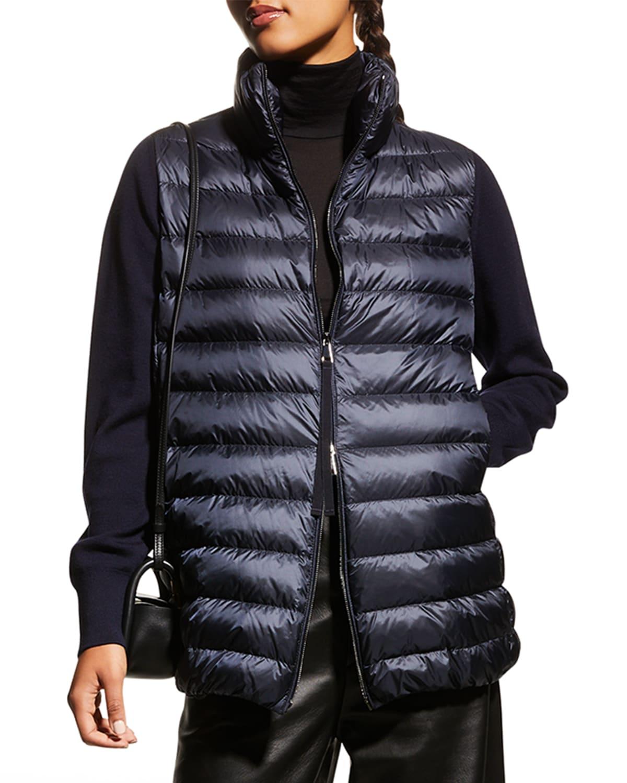 Long-Sleeve Down Cardigan