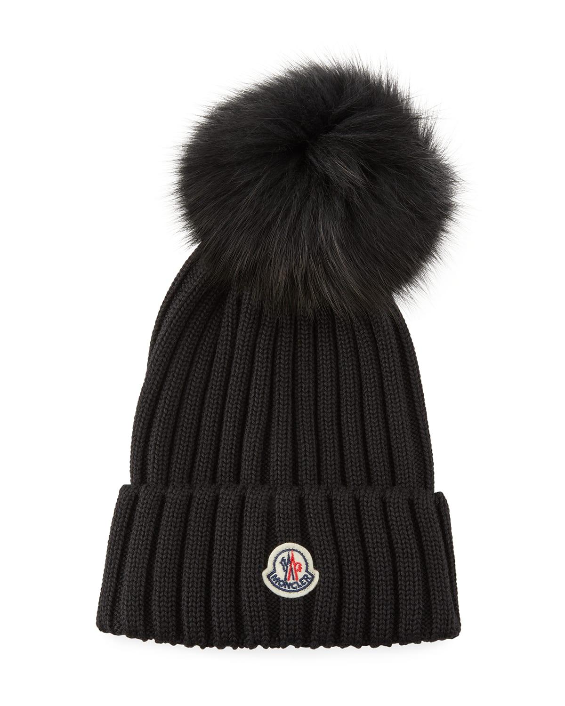 Ribbed Wool Beanie with Fur Pompom