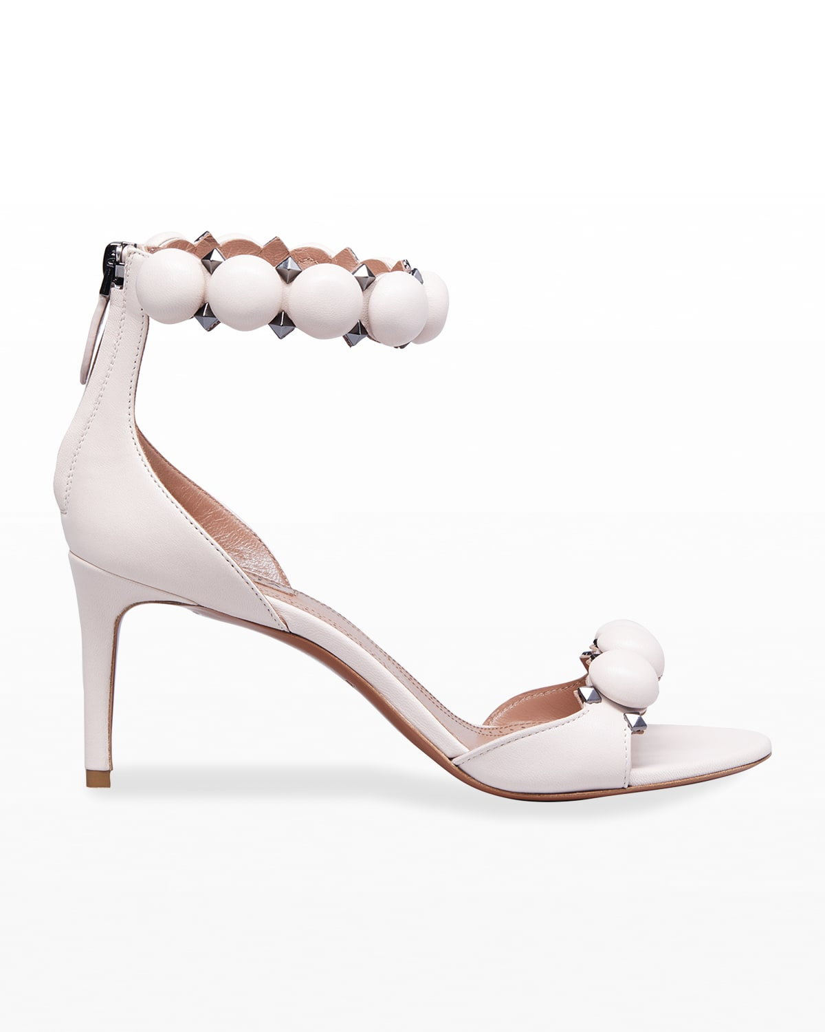 Bombe Stud Leather Ankle-Wrap High-Heel Sandals