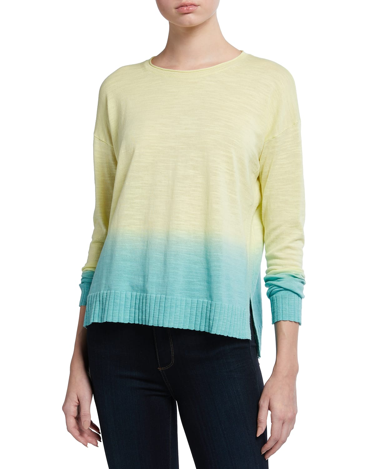 Petite Dipped Ombre Cotton Sweater