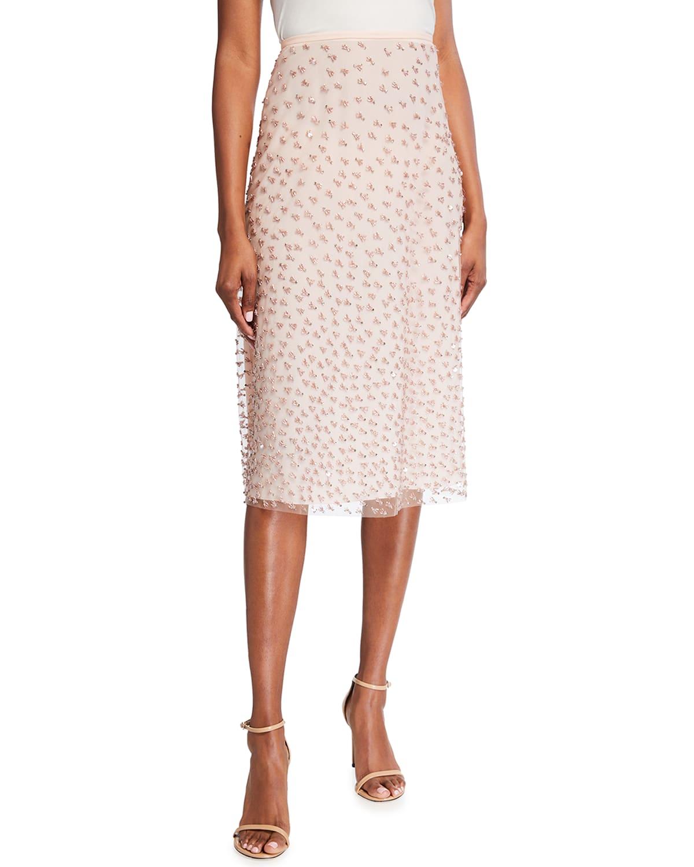 Rhanu Beaded-Silk Midi Skirt