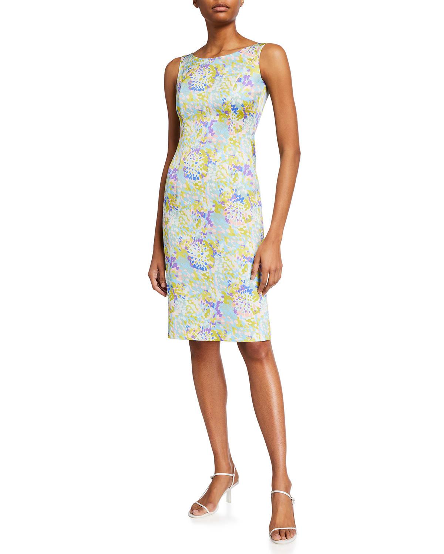 Abstract Floral-Print Sheath Dress