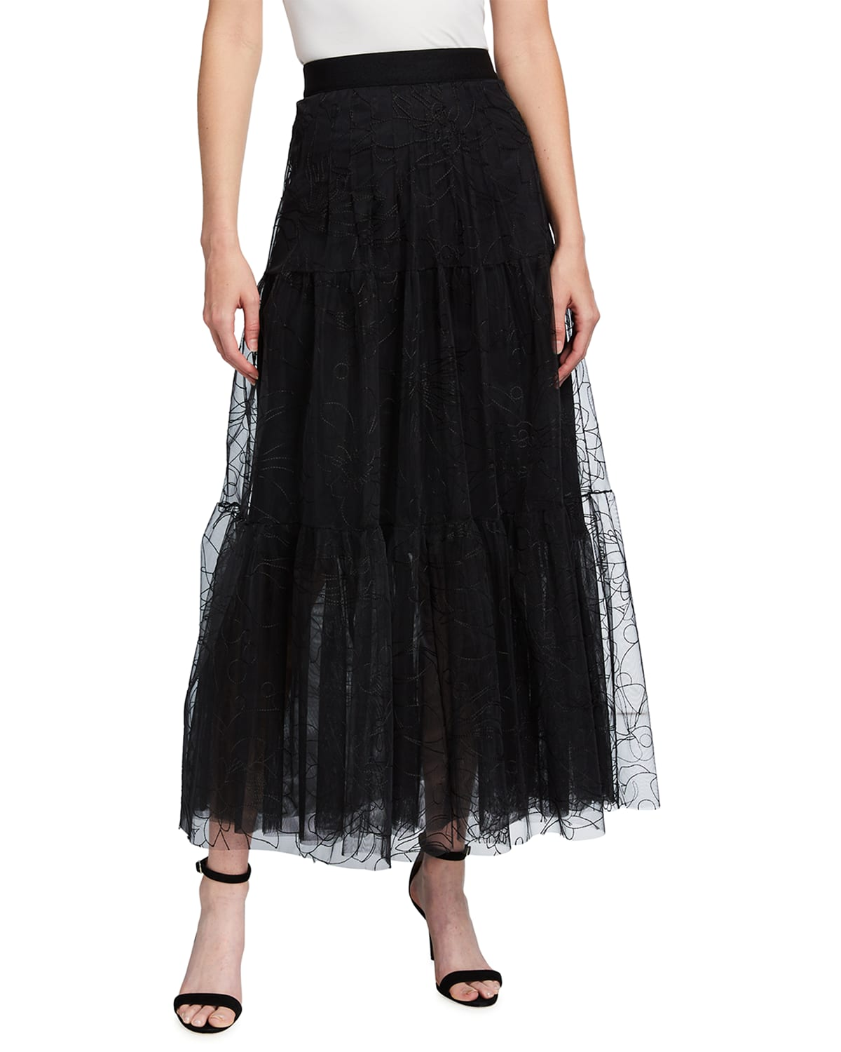 Embroidered Floral Tulle Woven Midi Skirt