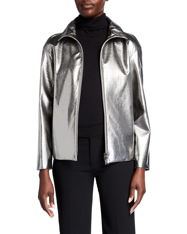 Embossed Metallic Zip-Front Jacket
