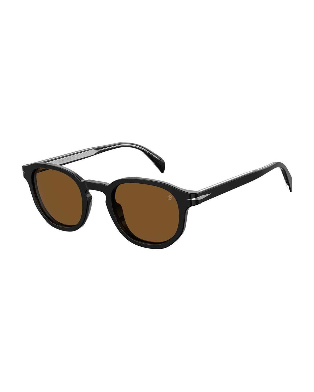 Men's Round Acetate Sunglasses w/ Metal Detail