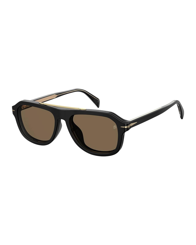Men's Rectangle Optical Frames w/ Magnetic Clip-On Sun Lenses