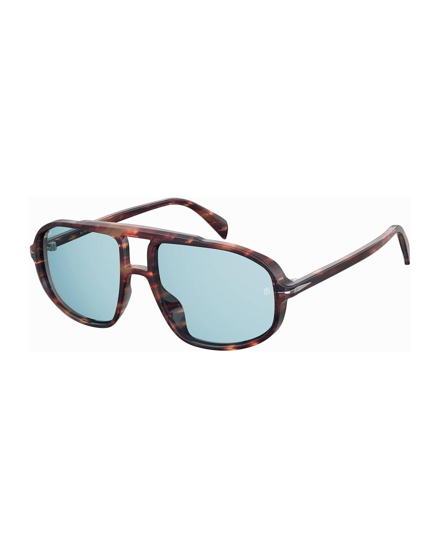 Men's Havana Acetate Aviator Sunglasses