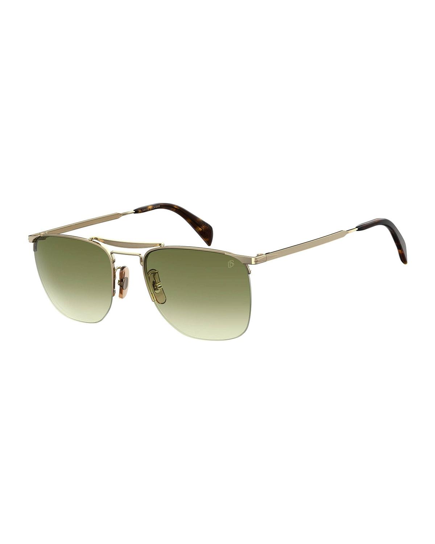 Men's Half-Rim Metal Gradient Square Sunglasses