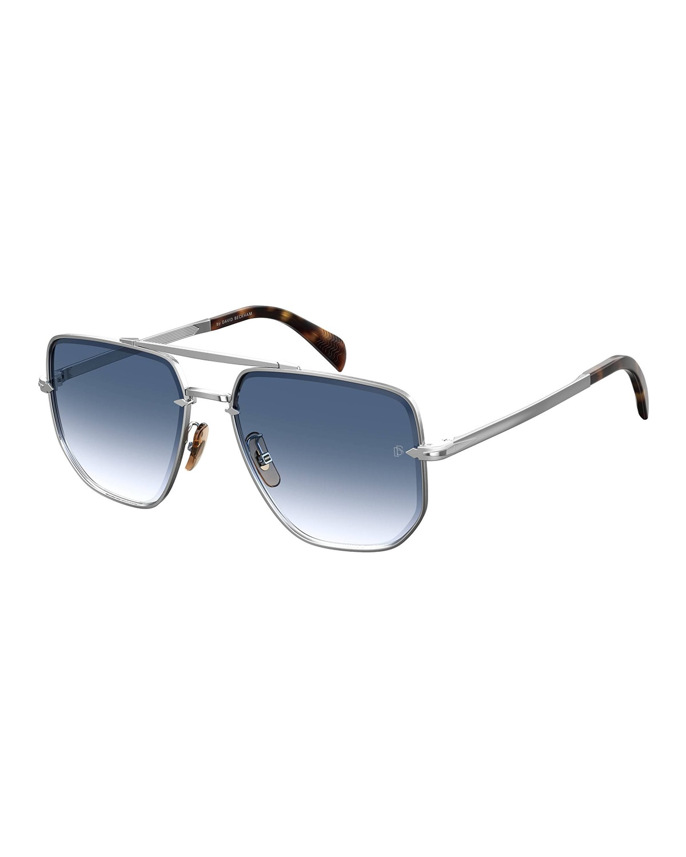 Men's Square Gradient Metal Double-Bridge Sunglasses
