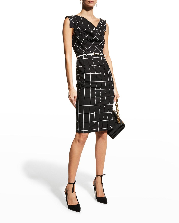 Jackie Belted Windowpane Sleeveless Dress