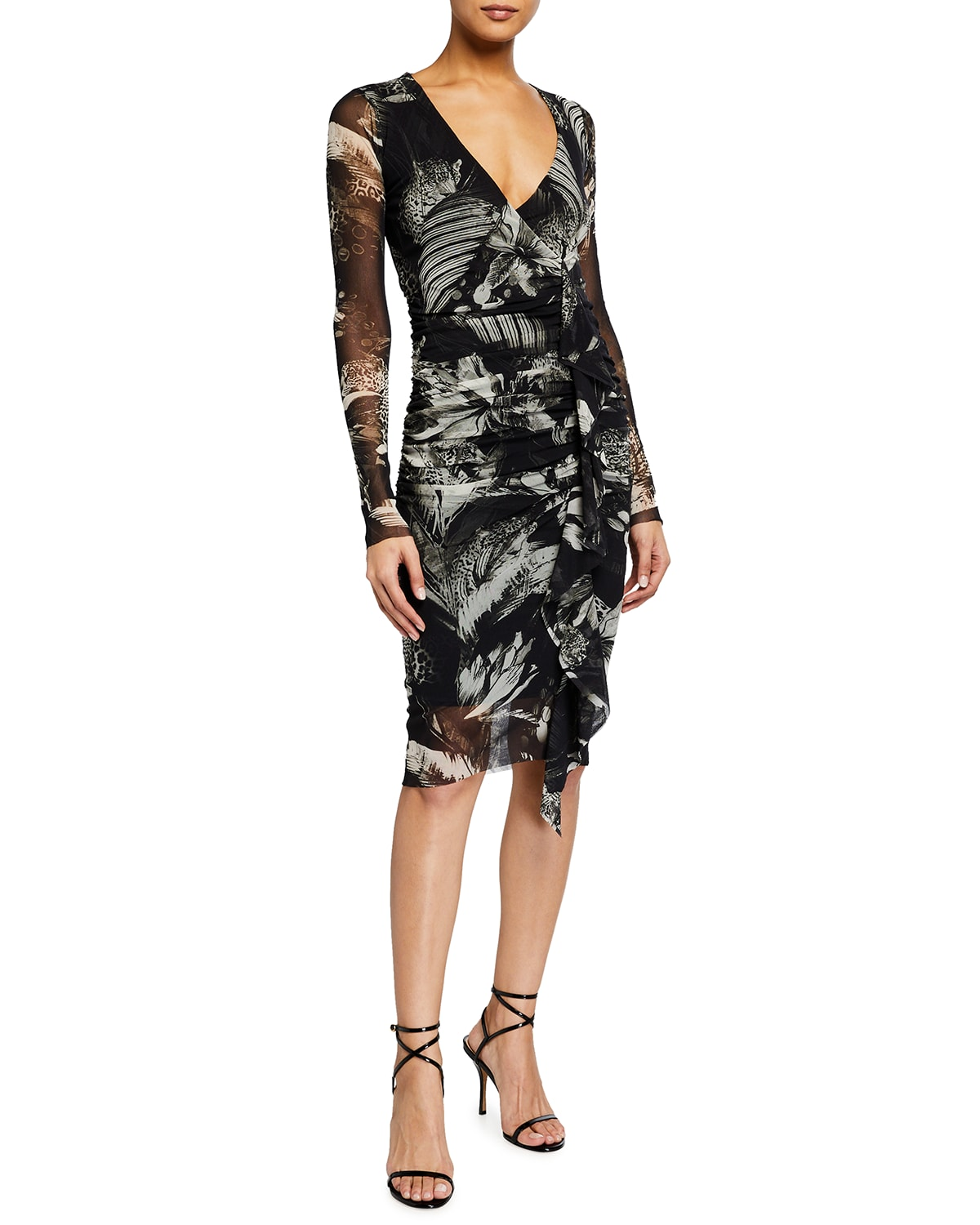 Tiger-Print Fitted Long-Sleeve Dress
