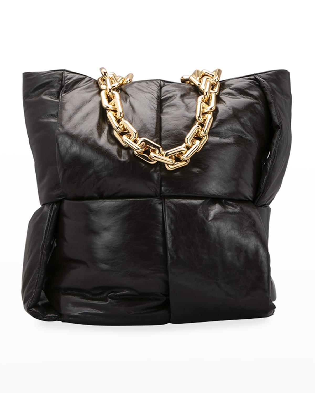Intrecciato Puffy Chain Top Handle Tote Bag