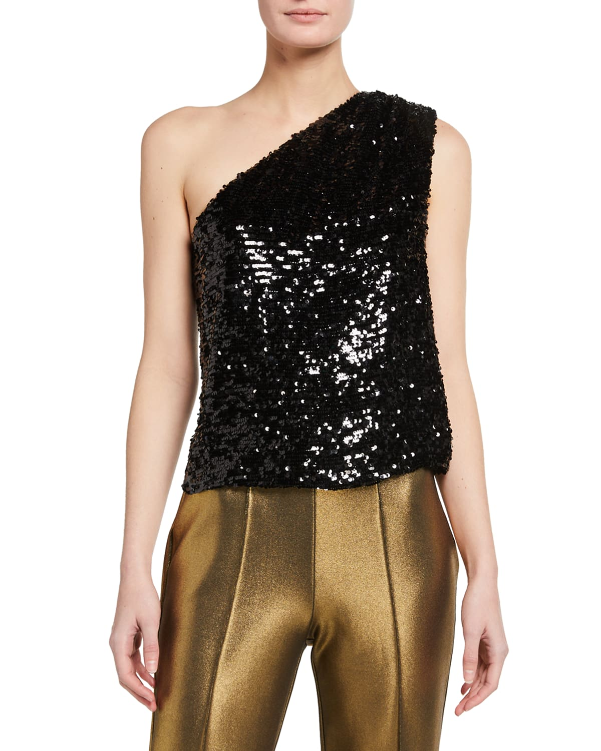 Sequined Viscose Asymmetric Top