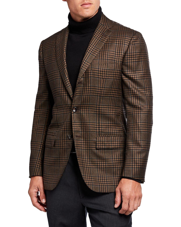 Men's Large Plaid Cashmere Sport Jacket
