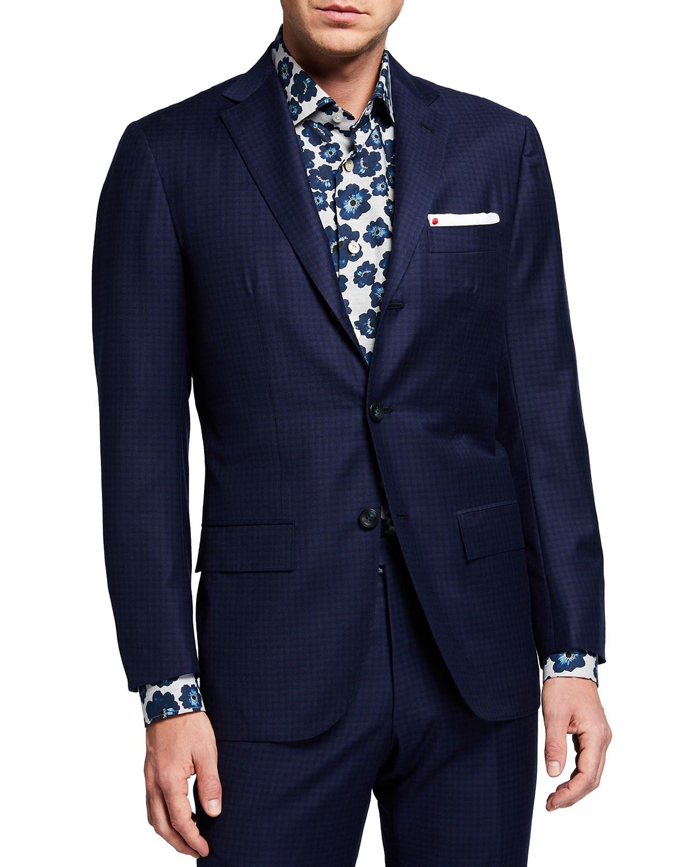 Men's Tonal Check Wool Suit