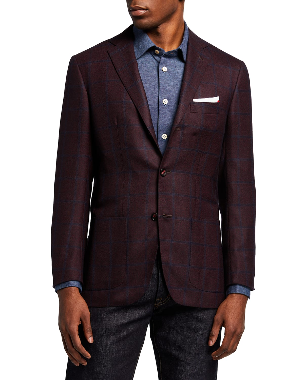 Men's Windowpane Cashmere Sport Jacket