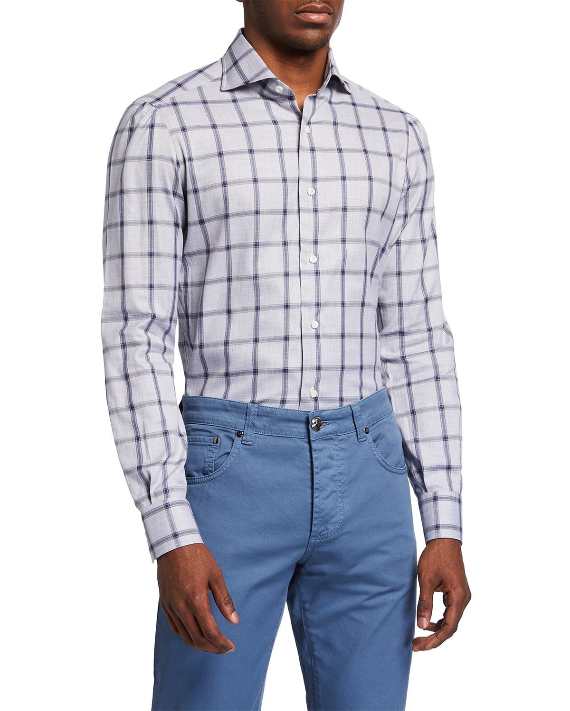 Men's Windowpane Check Sport Shirt