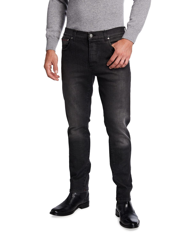 Men's Washed 5-Pocket Tapered Jeans
