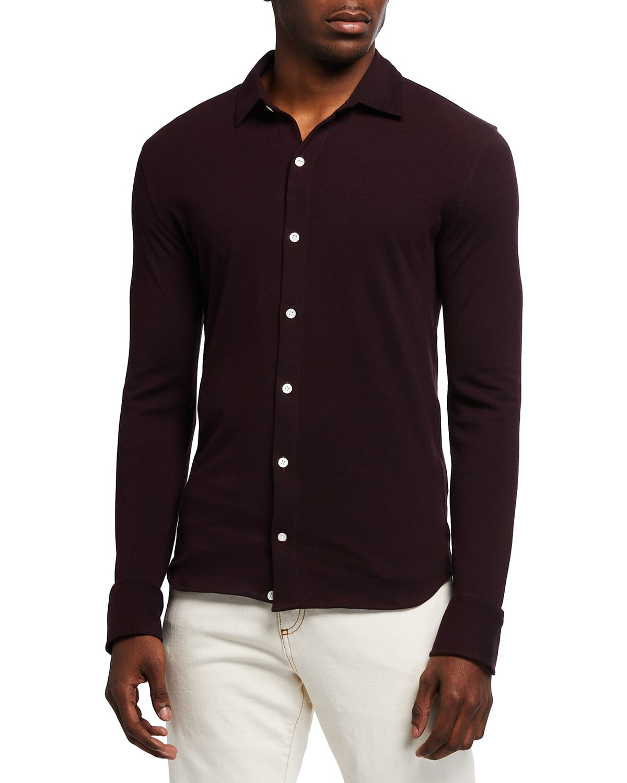 Men's Slim Solid Pique Sport Shirt