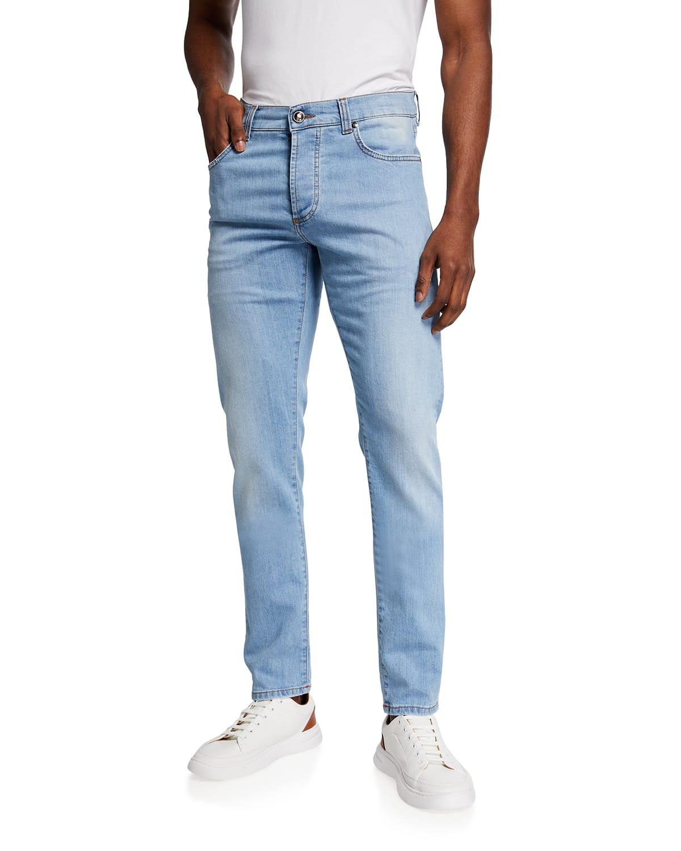 Men's Light-Wash Straight-Leg Jeans