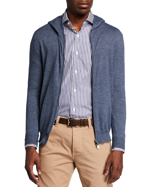 Men's Heathered Wool Hooded Zip Sweater