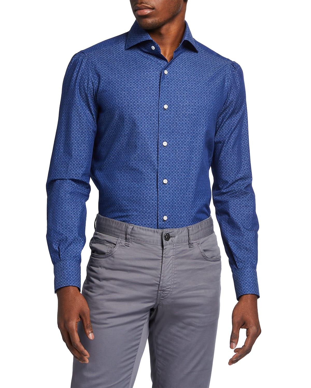 Men's Diamond-Print Sport Shirt