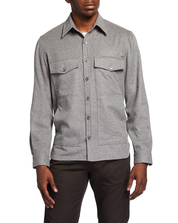 Men's 4-Pocket Wool-Cashmere Overshirt