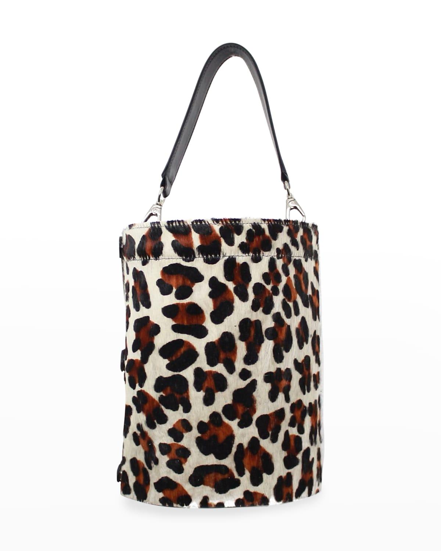 Cheetah-Print Vinyl Bucket Bag