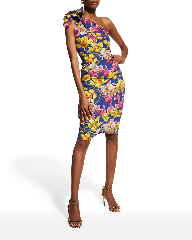Gosia Floral-Print One-Shoulder Dress