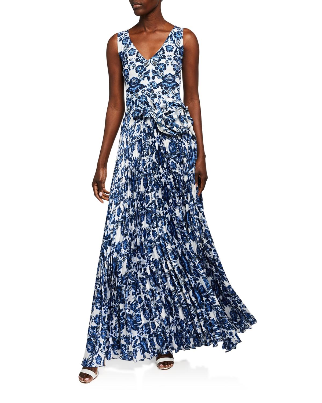 Rahel Tris Printed Plisse Sleeveless Dress