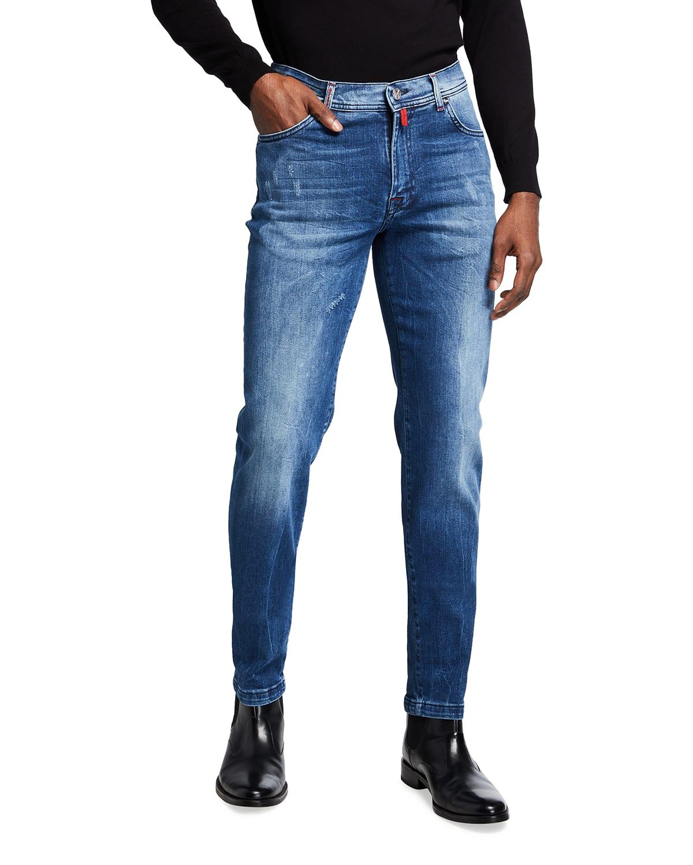 Men's Distressed Medium-Wash Slim Jeans