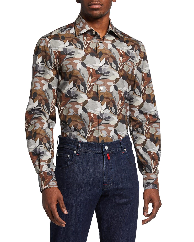 Men's Leaf-Pattern Sport Shirt