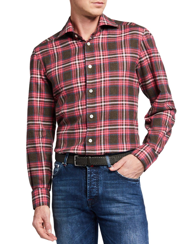 Men's Brushed Plaid Sport Shirt