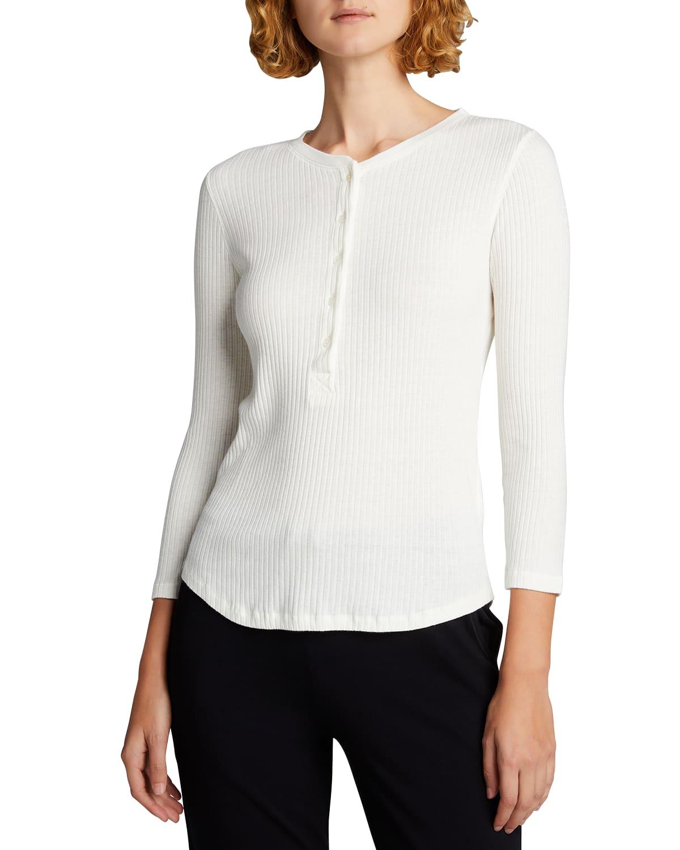 Ribbed Henley 3/4-Sleeve Shirt