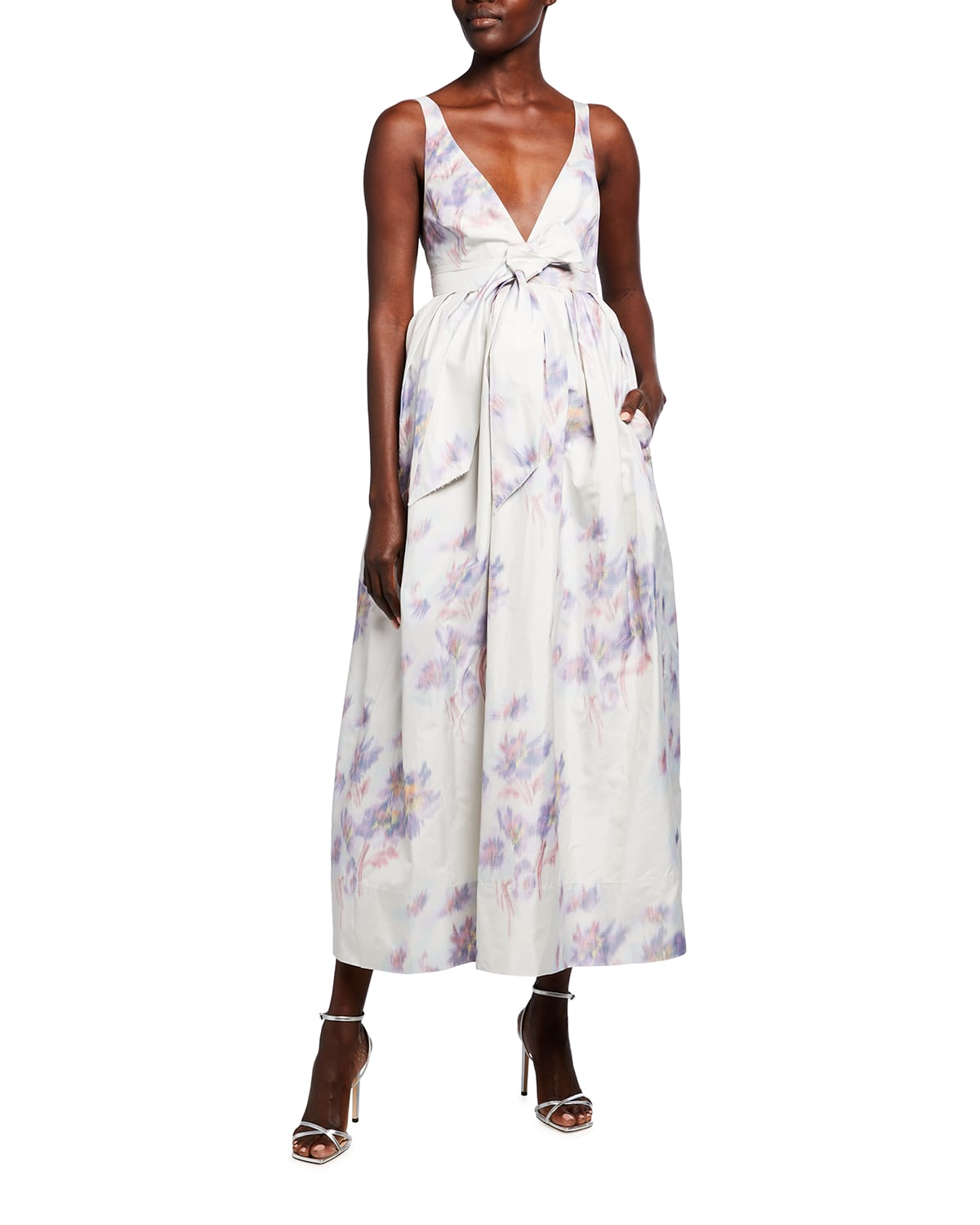 Floral-Print Fit-&-Flare Tie-Waist Gown