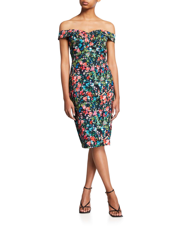Floral-Print Off-the-Shoulder Crepe Dress