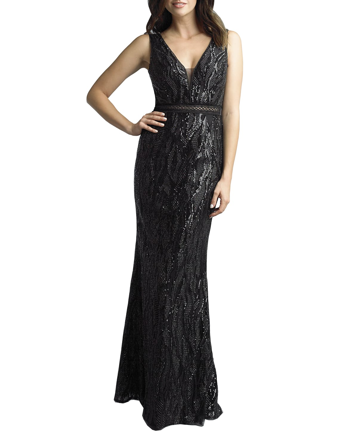 Sequin Faux Snake Column Gown