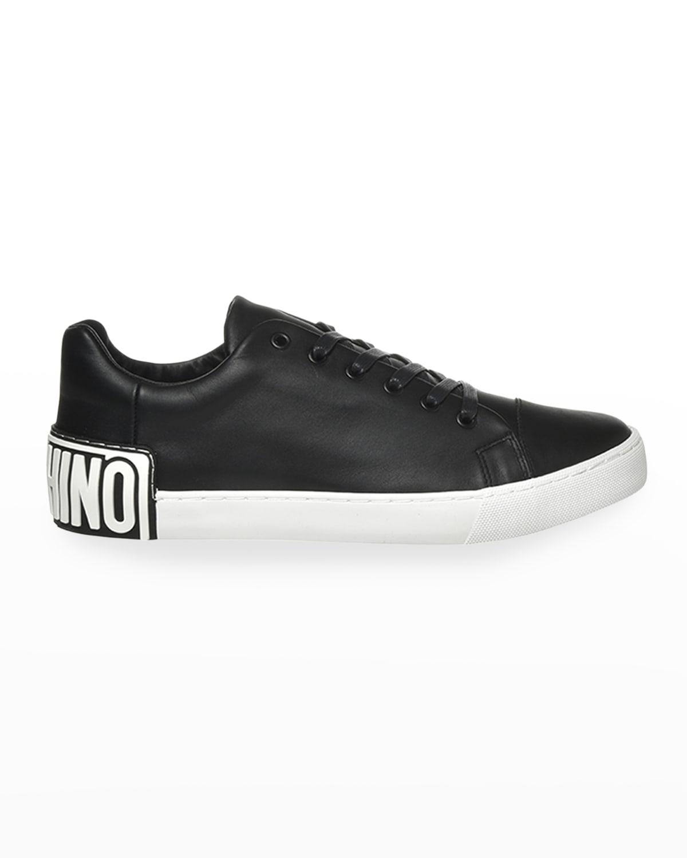 Men's Leather Logo-Heel Sneakers