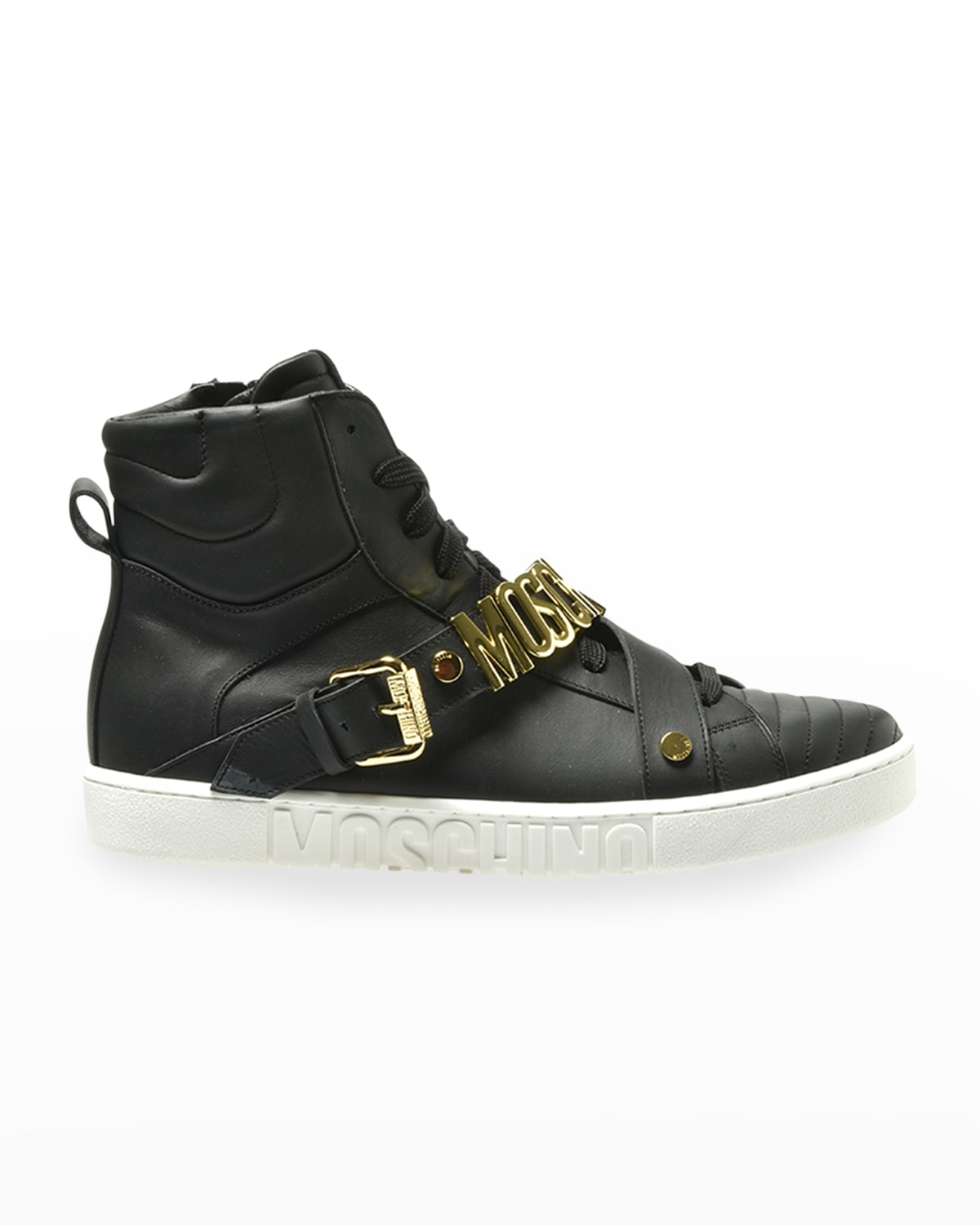 Men's Leather Logo-Strap High-Top Sneakers