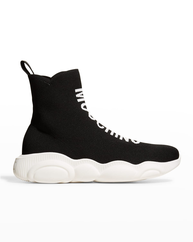 Men's Sock Logo High-Top Sneakers