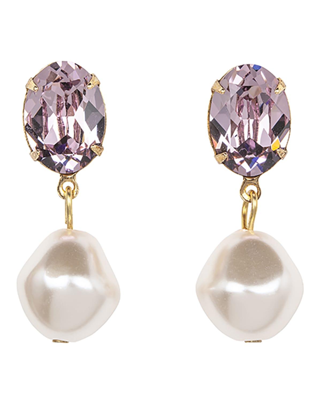 Tunis Crystal-Pearl Drop Earrings