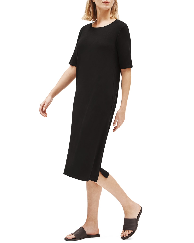 Lyocell Jersey Short-Sleeve Dress w/ Side Slit