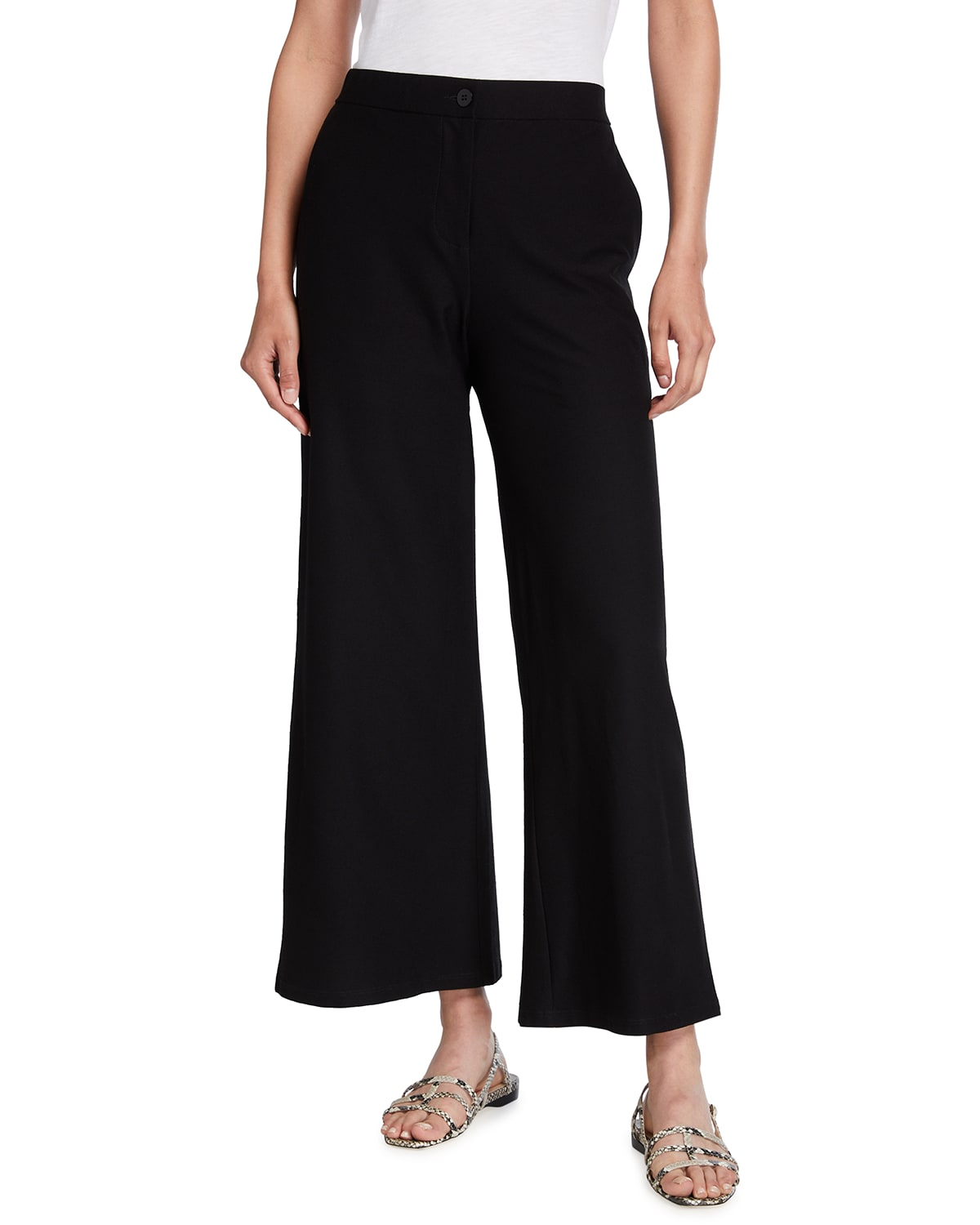 Stretch Crepe High-Waist Ankle Pants