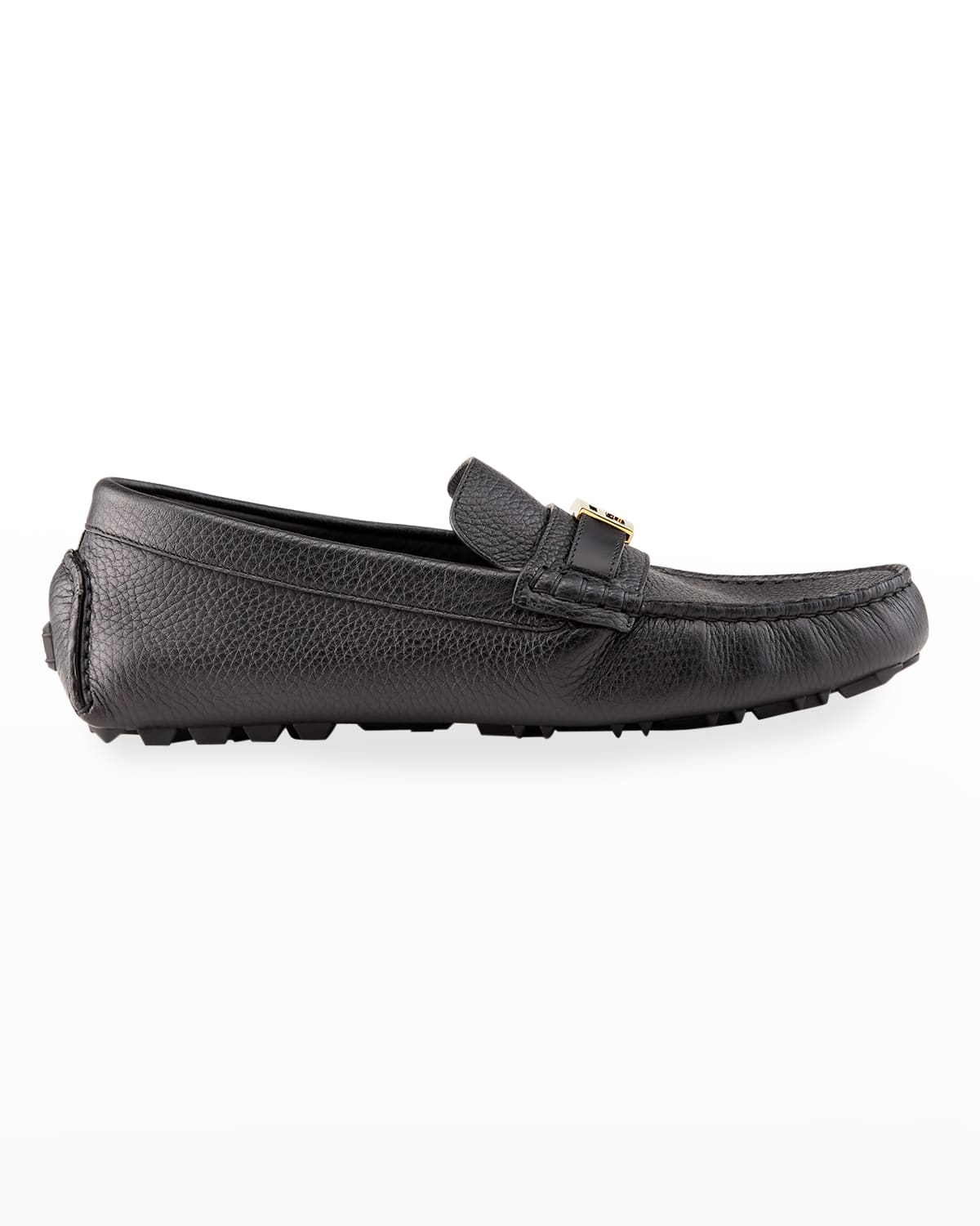 Men's Pebbled Leather Drivers w/ FF Buckle Strap